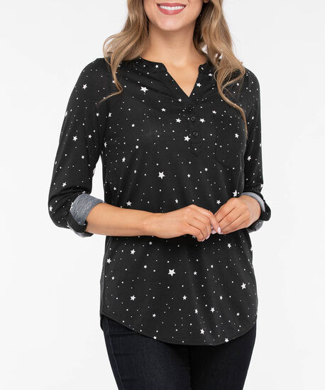 Tab Sleeve Henley Knit Top, Black/Pearl, hi-res