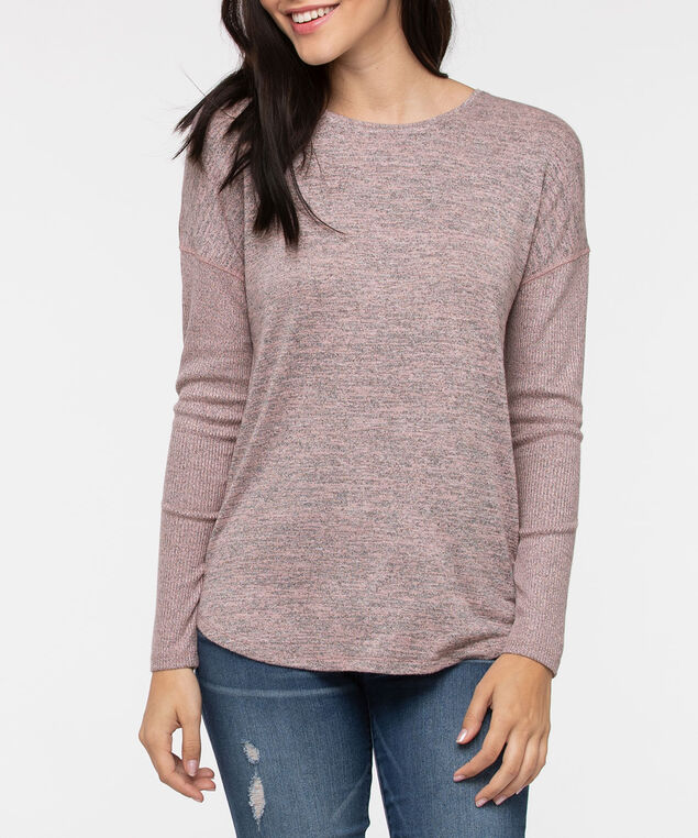 Long Sleeve Drop Shoulder Top, Dusty Pink, hi-res
