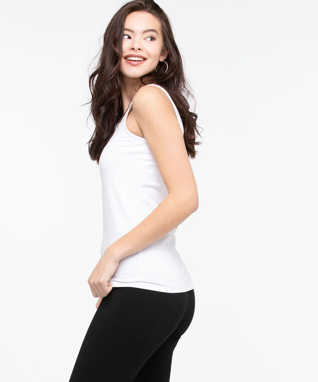 Scoop Neck Cami, True White, hi-res