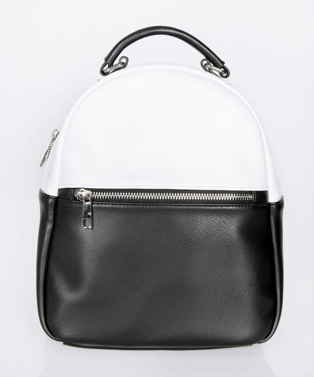 Round Top Crossbody Backpack, Black/True White, hi-res