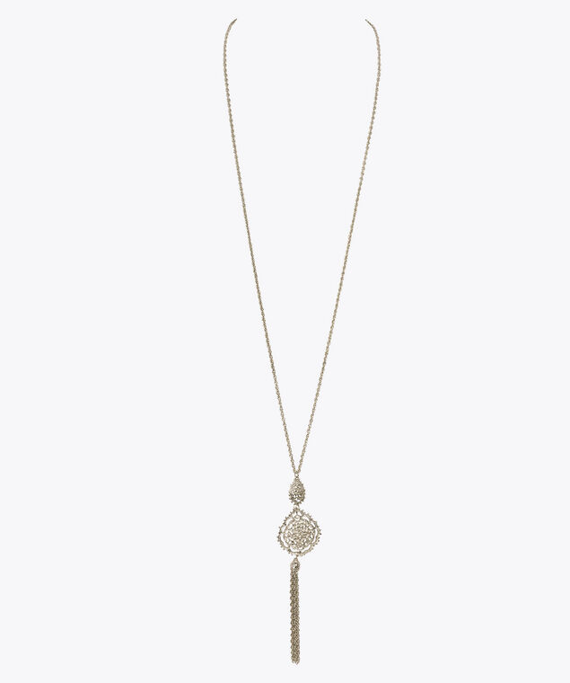 Stacked Filigree Tassel Necklace, Rhodium, hi-res