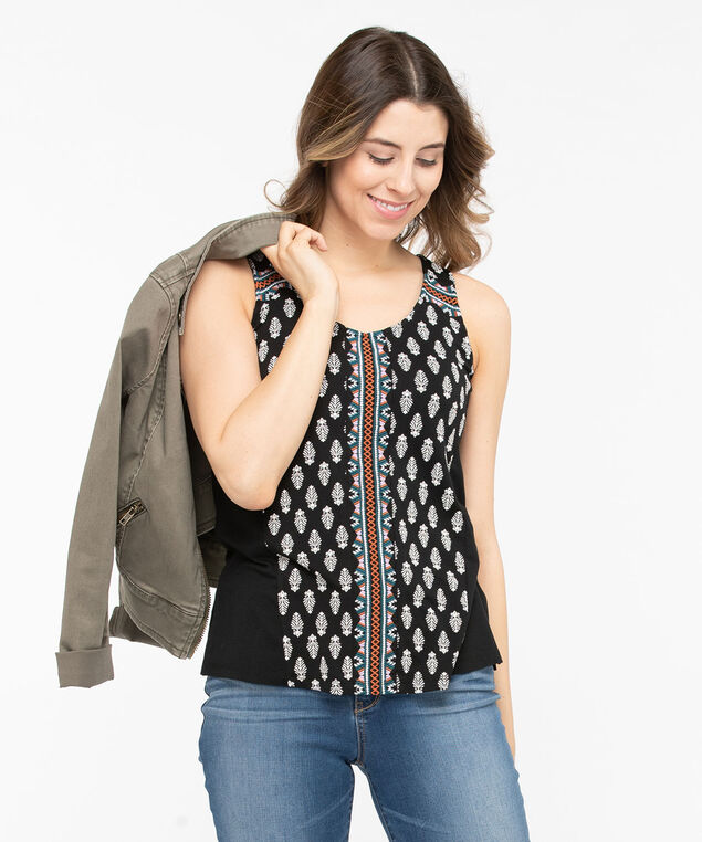 Sleeveless Embroidered Trim Top, Black/Chili/Midnight Teal/Pearl, hi-res