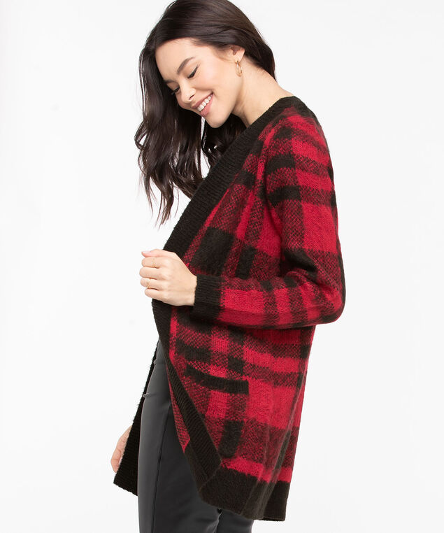Buffalo Check Open Cardigan, Red/Black, hi-res