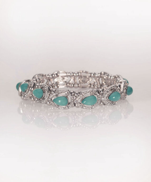 Stone & Crystal Teardrop Stretch Bracelet, Green, hi-res
