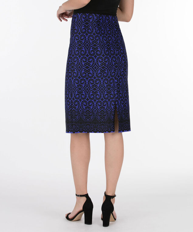 Lace Print Skirt, Mid Blue/Black, hi-res