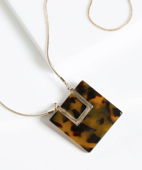 Tortoise Shell Pendant Necklace, Brown/Black/Gold, hi-res