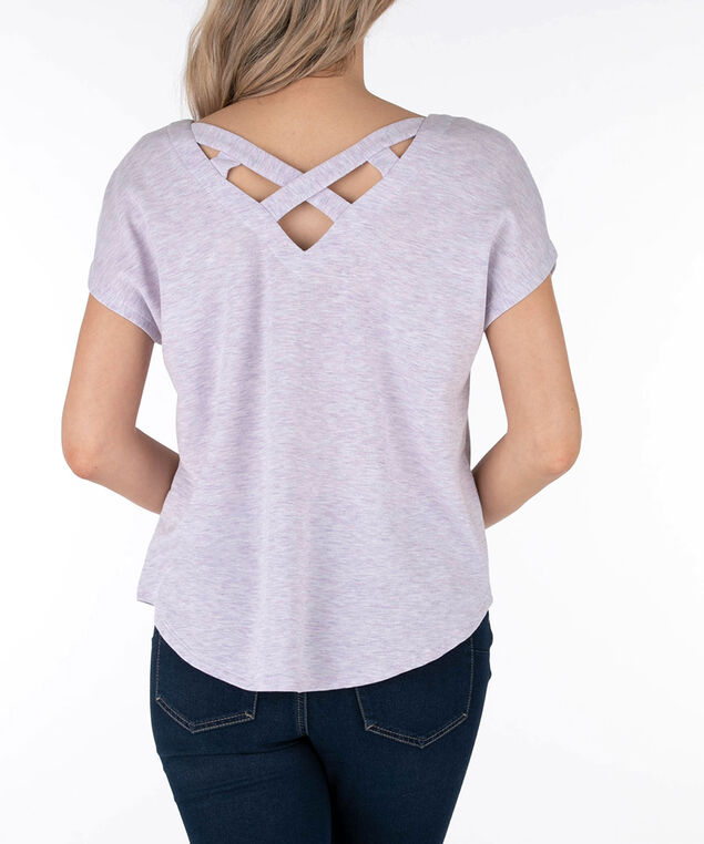 French Terry Cross-Back Top, Wisteria, hi-res