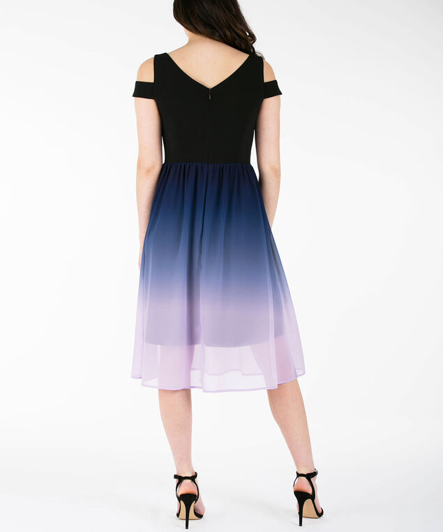 Cold Shoulder Ombre Dress, Black/Purple/Iced Violet, hi-res