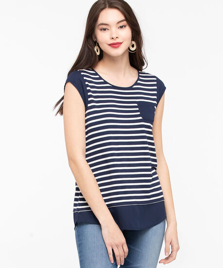 Chiffon Trim Pocket Tee, Summer Navy/Pearl, hi-res
