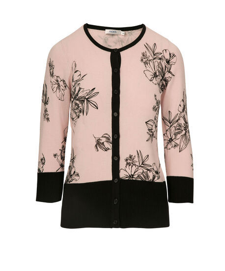 Button Front Cardigan, Pastel Pink/Black, hi-res