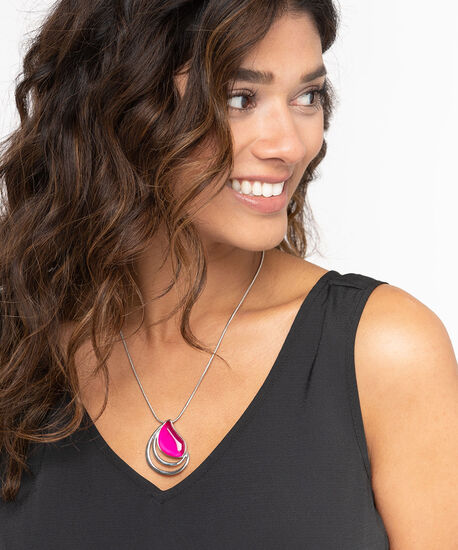 Cateye Pendant Necklace, Pink, hi-res