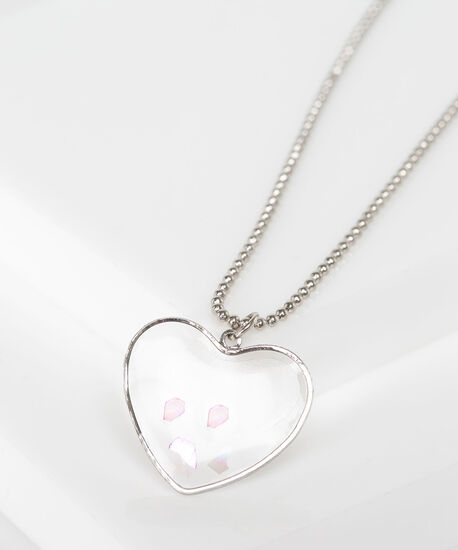 Clear Heart Pendant Necklace, Rhodium, hi-res