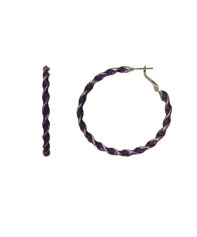 Painted Twisted Hoop Earring, Deep Purple/Rhodium, hi-res