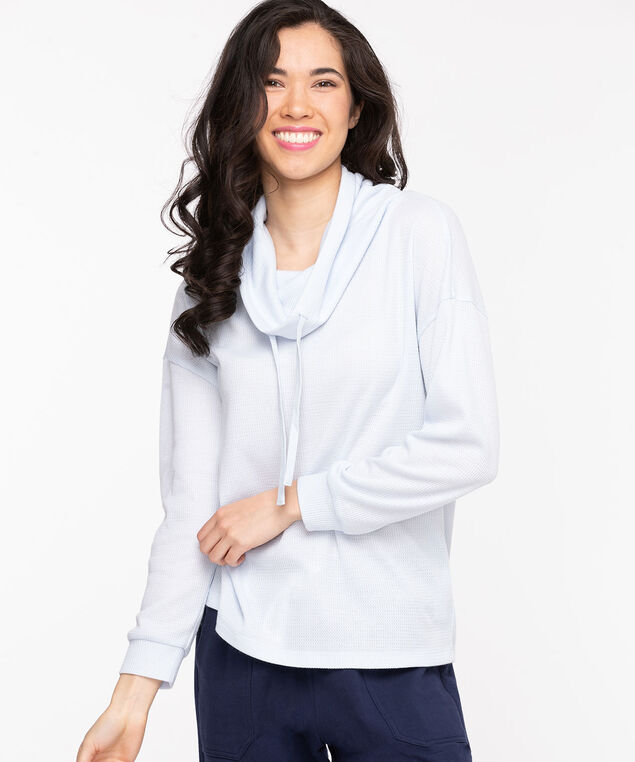 Cowl Neck Waffle Knit Top, Heather