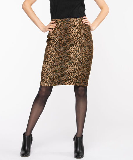 Animal Print Ponte Pencil Skirt, Black/Brown/Camel, hi-res