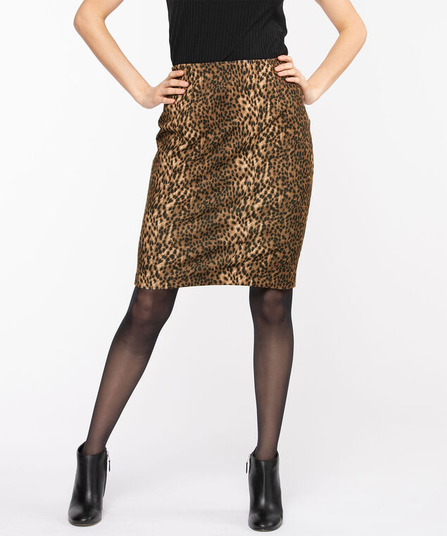 Animal Print Ponte Pencil Skirt, Black/Brown/Camel