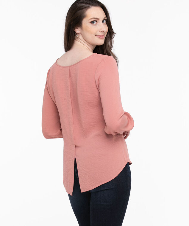 Cuffed Long Sleeve Blouse, Old Rose