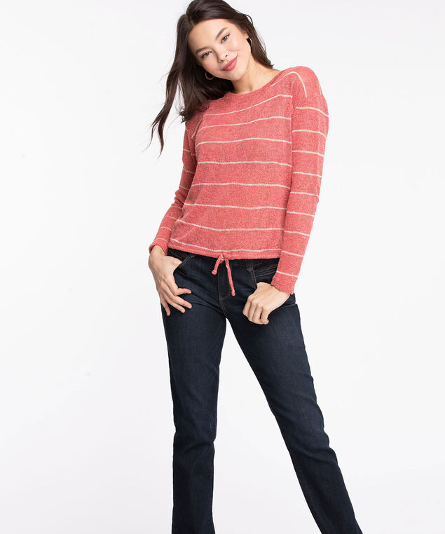 Striped Drawstring Waist Knit Top, Rouge Red/Pearl, hi-res