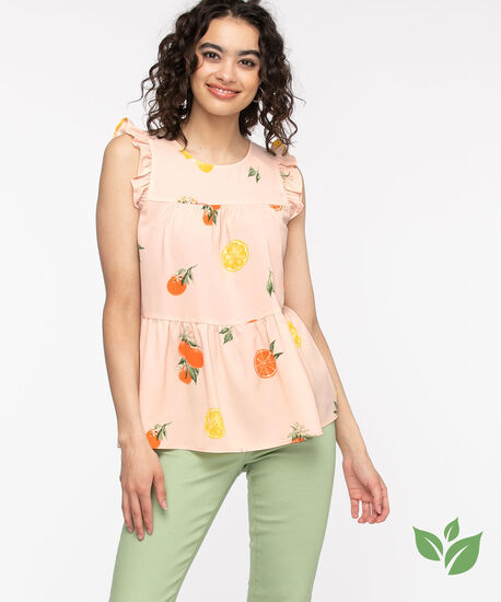 Eco-Friendly Tiered Ruffle Blouse, Pink Fruit, hi-res