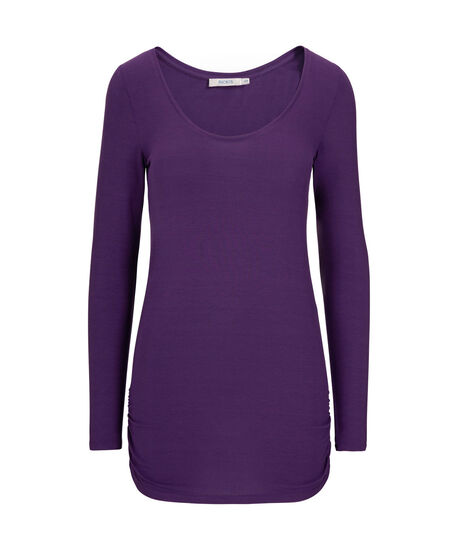 Ruched Side Layering Essential Top, Royal Purple, hi-res