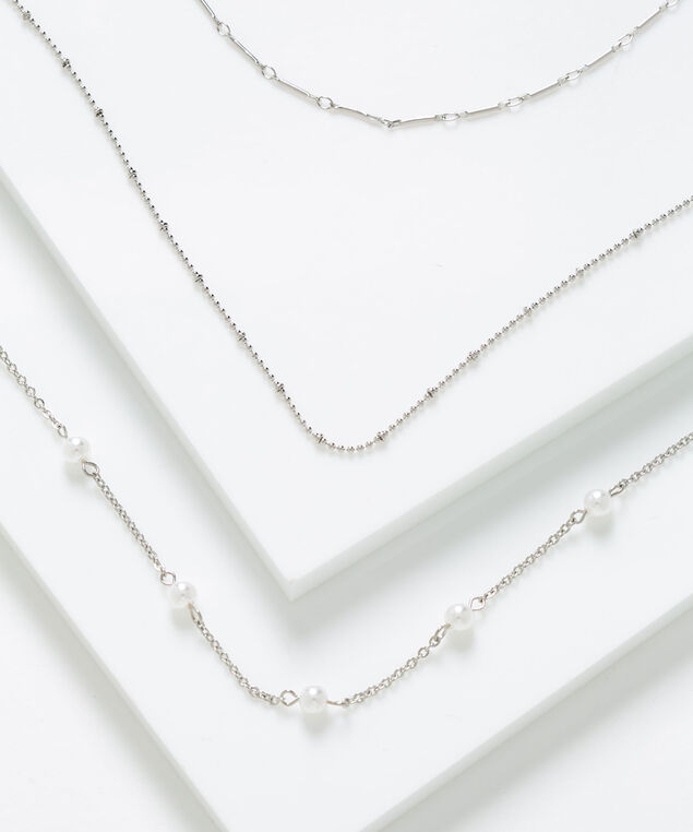 Delicate Pearl Layered Necklace, Pearl/Silver, hi-res