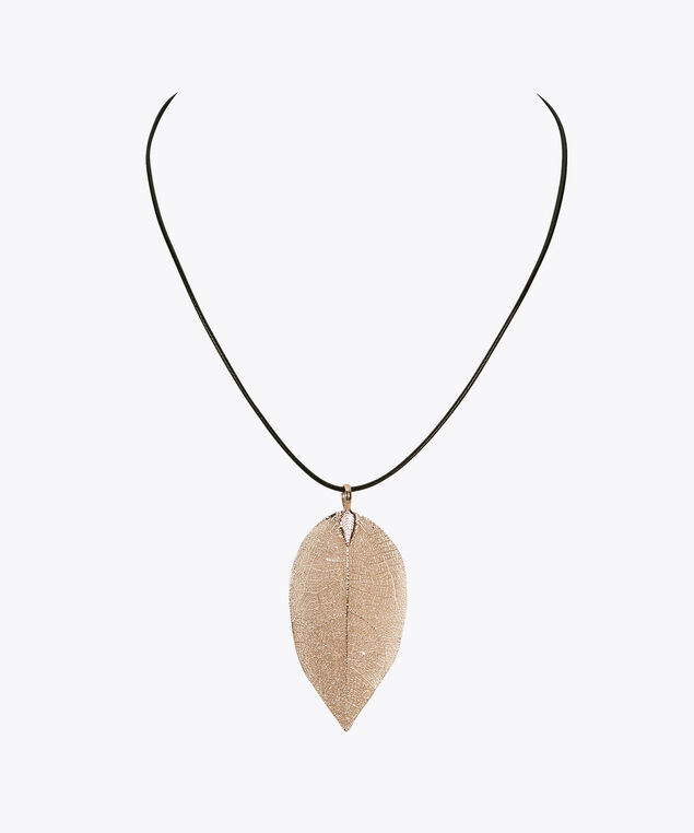Golden Leaf Pendant Necklace, Soft Gold/Black, hi-res
