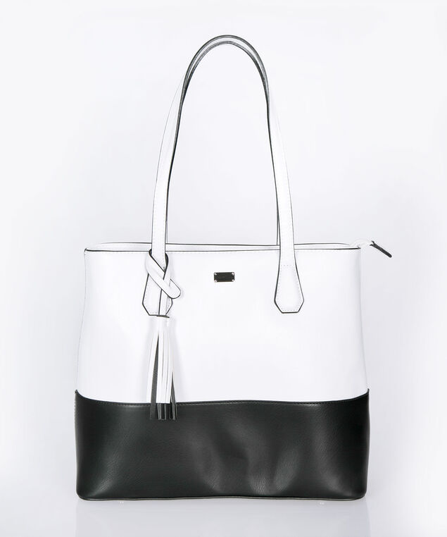 Top Handle Satchel With Tassel, True White/Black, hi-res