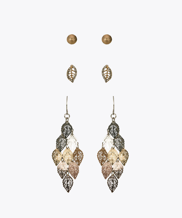 Feather Earring Trio Set, Gold, hi-res