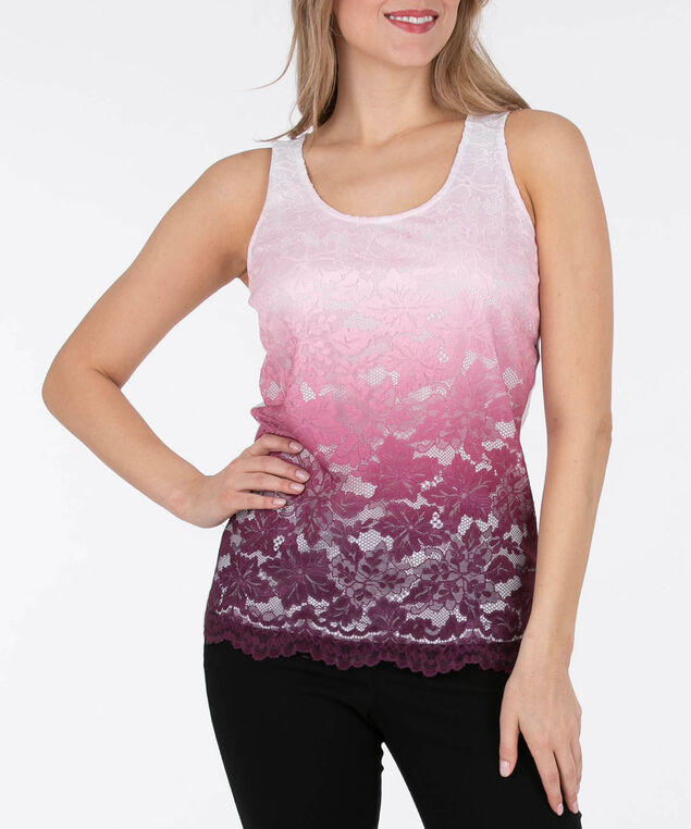 Sleeveless Lace Overlay Top, Black Cherry/Cameo Pink/White, hi-res