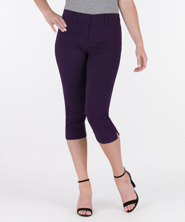 Microtwill Fly-Front Capri Pant, Deep Purple, hi-res
