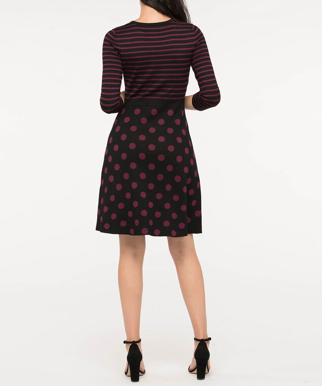 Stripes & Dots Sweater Dress, Burgundy/Black, hi-res