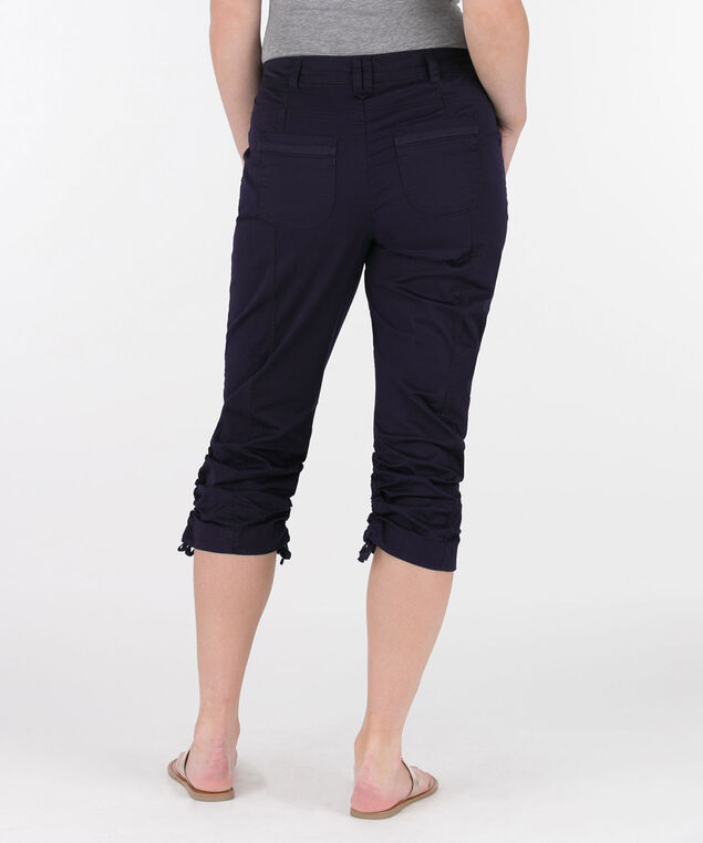 Poplin Double-Ruched Capri Pant, Summer Navy, hi-res