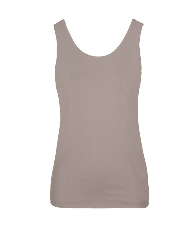 Double Layer Scoop Neck Cami, Grey, hi-res
