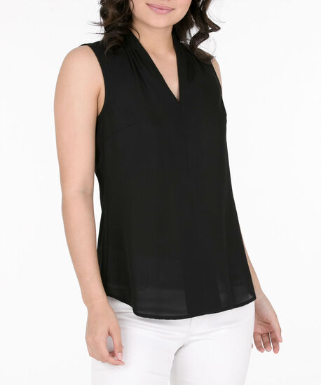 Pleated V-Neck Sleeveless Blouse, Black, hi-res