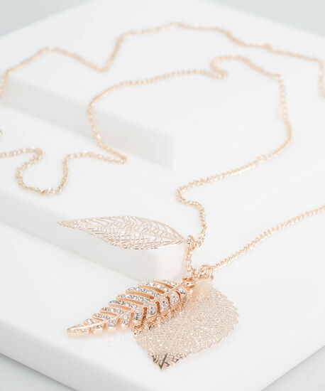 Etched Leaf & Crystal Feather Necklace, Rose Gold, hi-res