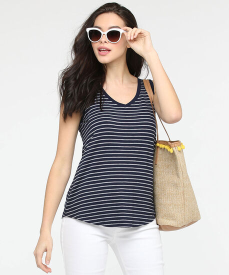 Sleeveless V-Neck Tank Top, Summer Navy/True White, hi-res