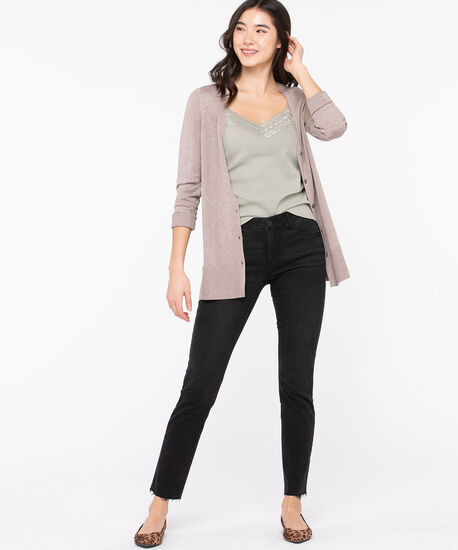 Button Front V-Neck Cardigan, Taupe, hi-res