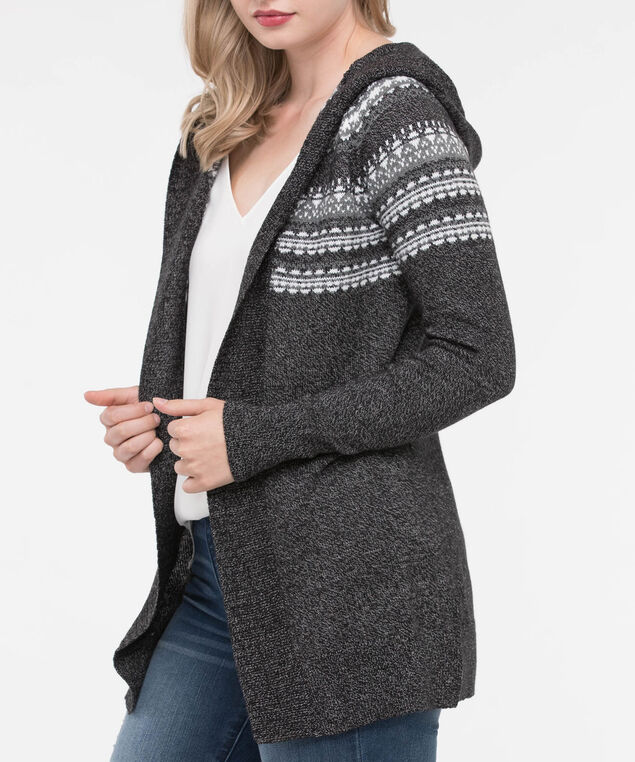 Fair Isle Hooded Cardigan Sweater, Black/Pearl/Mid Heather Grey, hi-res
