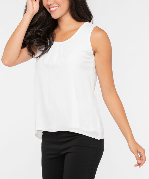 Sleeveless Pleated Bow Back Blouse, Pearl, hi-res