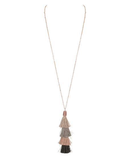 Tassel Fringe Pendant Necklace, Grey/Pale Pink/Rose Gold, hi-res
