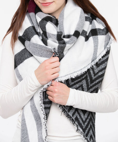 Double Faced Scarf, Black/Pearl/Burgundy, hi-res