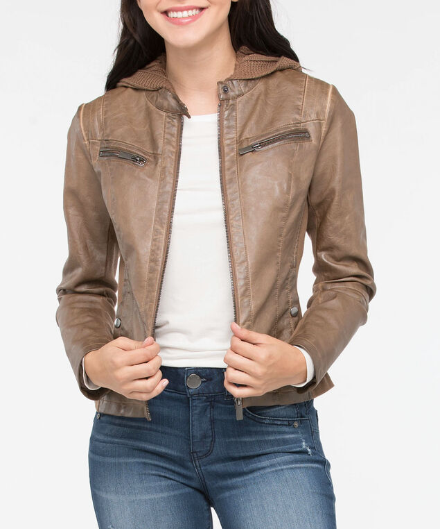 Pleather & Removable Knit Hood Jacket, Brown, hi-res