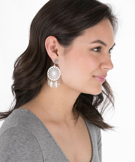Filigree Medallion Leaf Cluster Earring, Rhodium, hi-res
