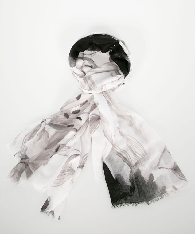 Floral Print Oblong Scarf, True White/Grey/Black, hi-res