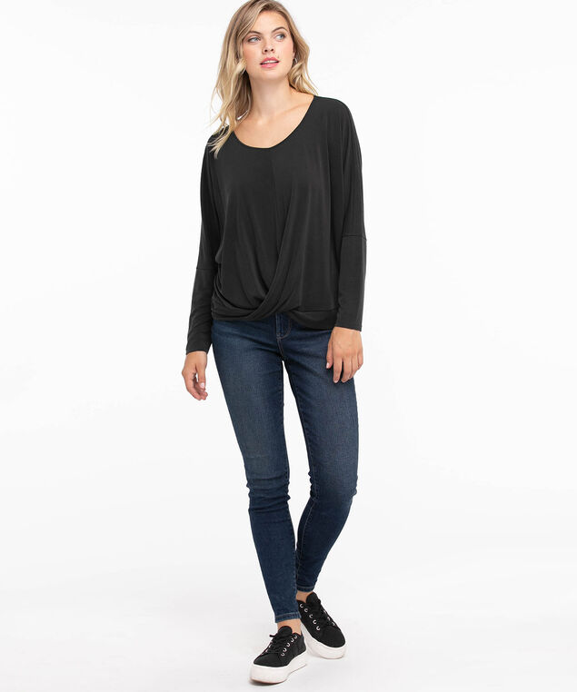 Long Sleeve Knot Front Top, Charcoal