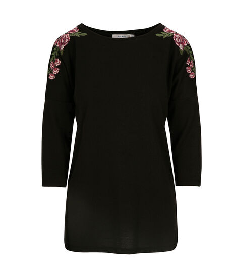 Floral Applique Cold Shoulder Top, Black, hi-res