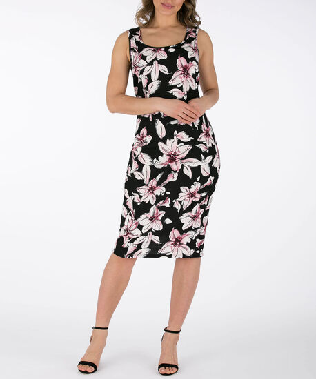 Sleeveless Sheath Dress, Black Print, hi-res