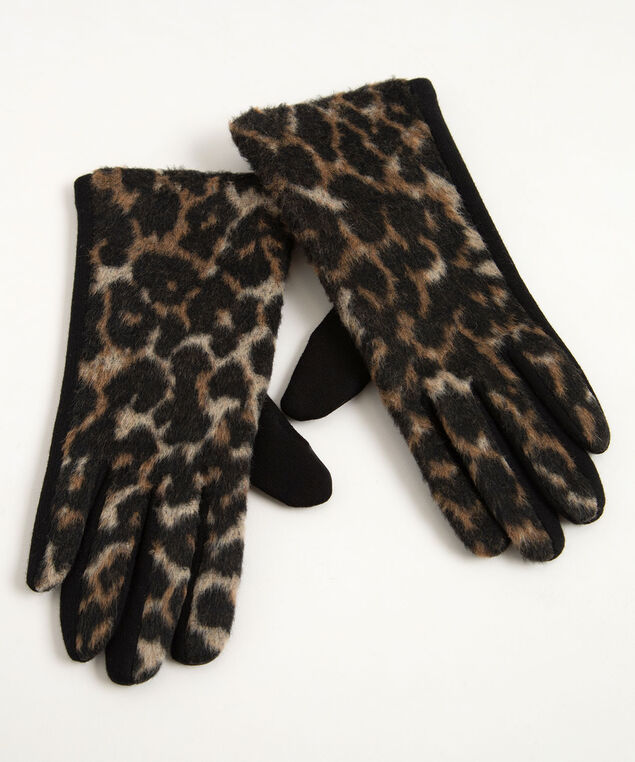 Leopard Texting Glove, Brown/Camel/Black, hi-res