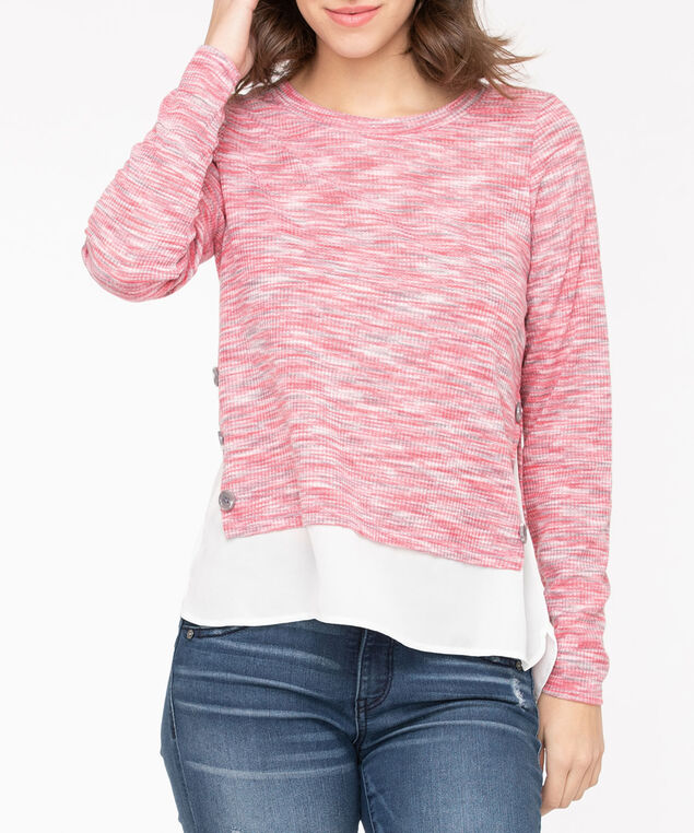 Lightweight Knit Button Trim Fooler Top, Strawberry/Grey/Pearl, hi-res