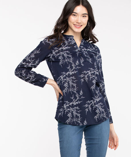 Floral Navy Henley Tunic, Navy, hi-res